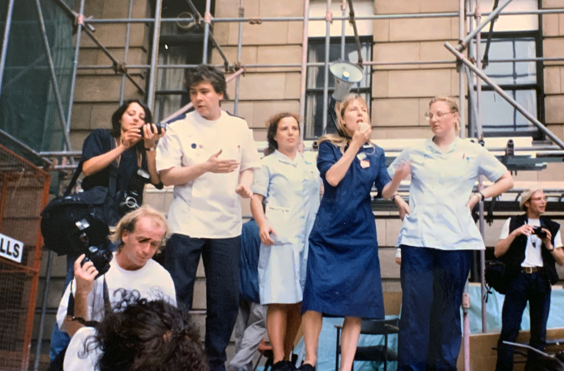 Jane Bruton on the picket line in the 1990s