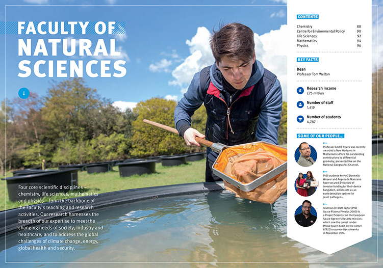 An image from the 2017-18 Postgraduate Prospectus showing a student examining a net used for pond dipping.