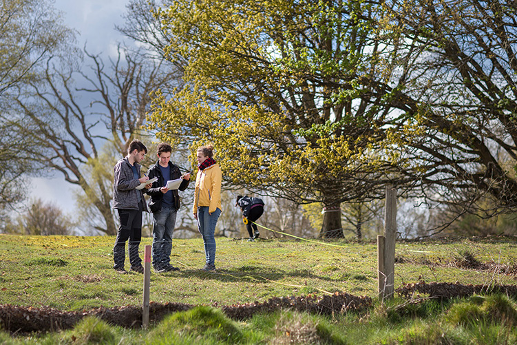 Four students making notes and taking measurements in a field.