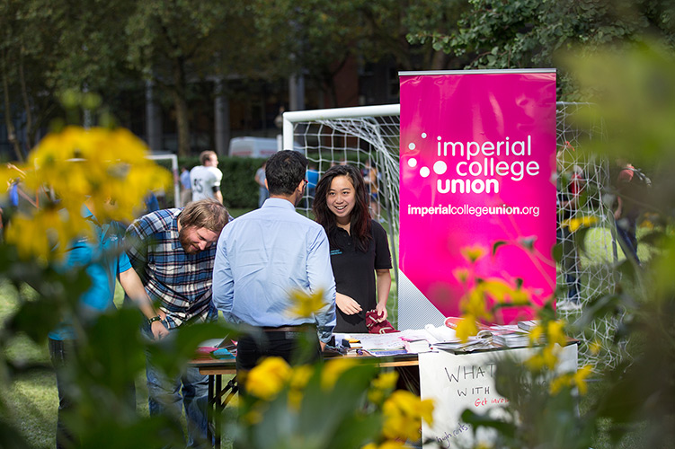 Students at the Imperial College Union stall.
