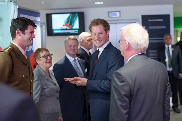 Captain Dave Henson in conversation with Prince Harry and Professor James Stirling.