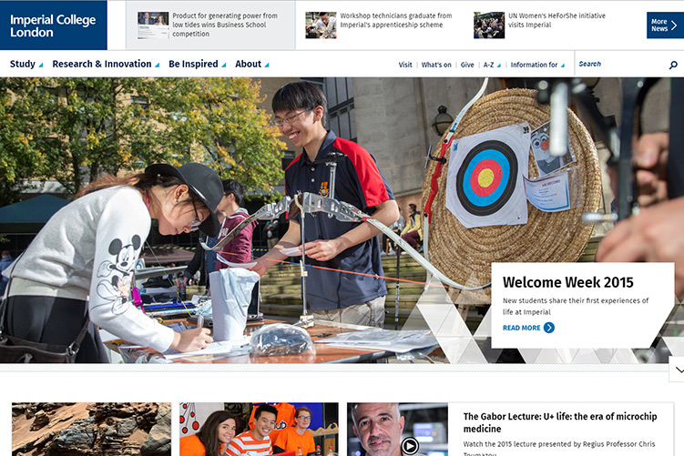 A screenshot of the Imperial College London website homepage, showing students at the Archery Club stall from Welcome Week 2015.