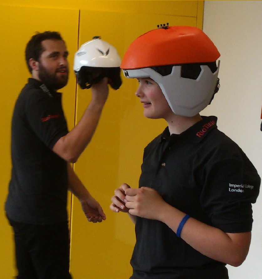 Millie Knight trying out the Glimpse helmet