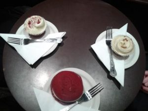 Red velvet cupcake, red velvet whoopie pie and gingerbread cupcake - BEST. EVER.