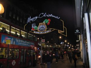 The crowds and lights at London's Oxford Street at Christmas