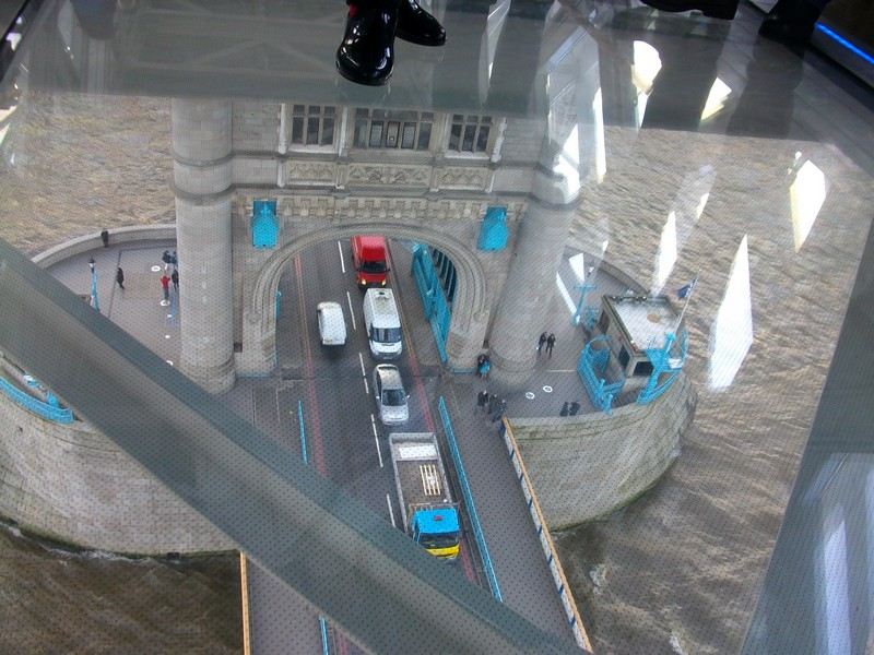 View onto Tower Bridge through the glass floor.
