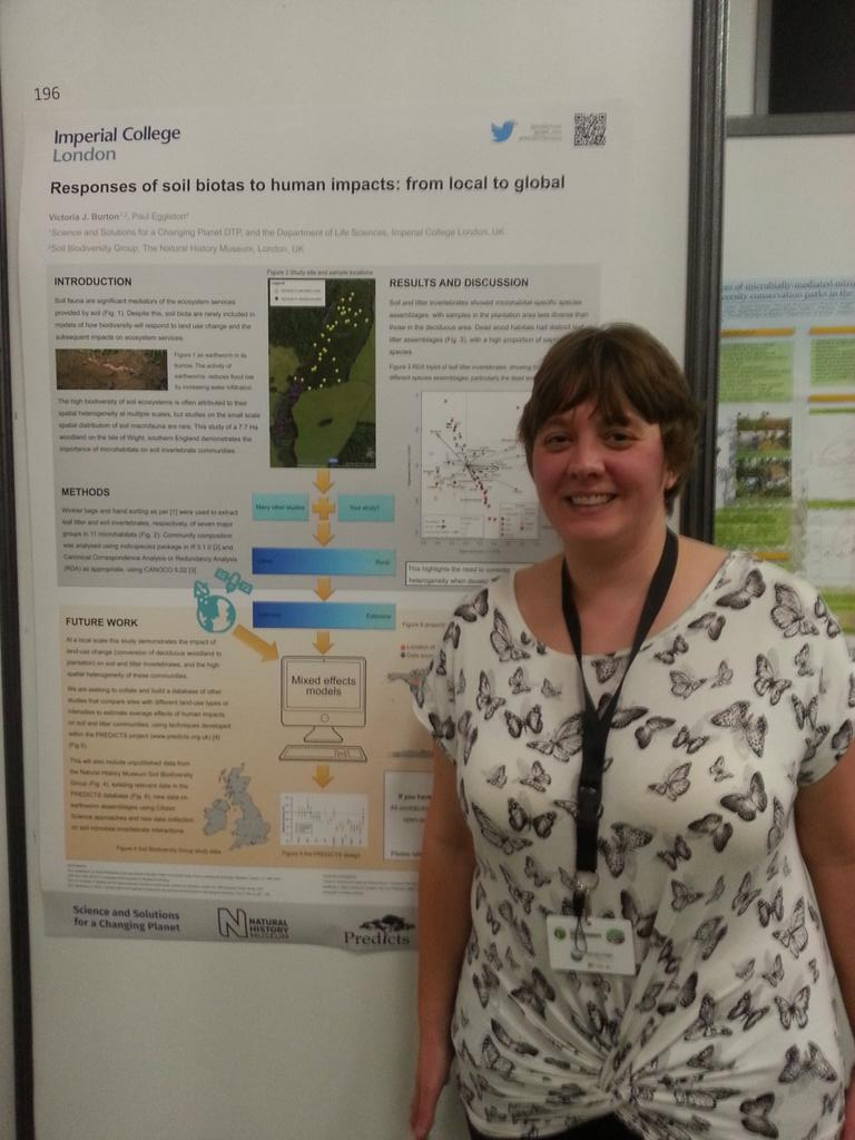 Victoria Burton and her poster at the First Global Soil Biodiversity Conference