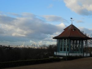 Horniman bandstand and London skyline