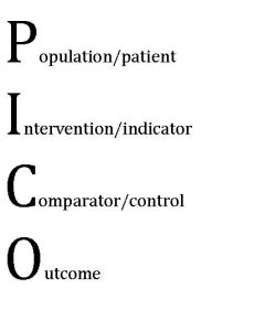 Population/patient  Intervention/indicator  Comparator/control  Outcome (PICO)