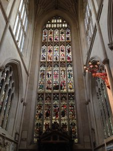 The beautiful stained glass window of Bath Abbey.