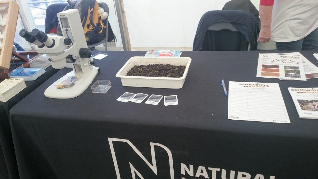 Earthworm Watch table set up at ready to go