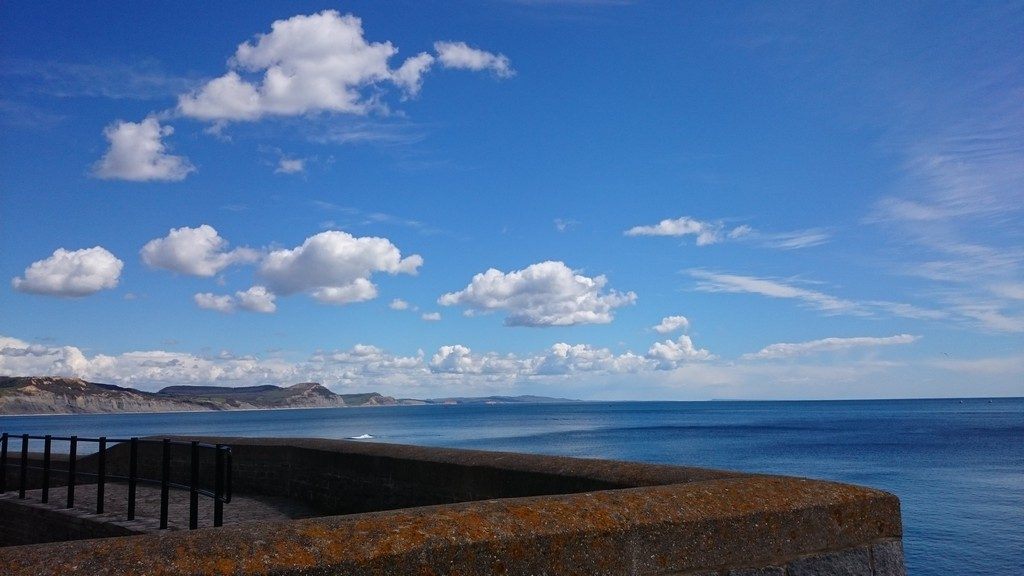 A quick break to admire the view at Lyme Regis