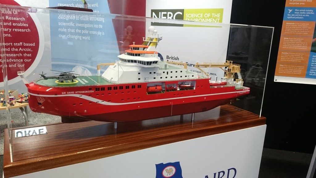 Model of the new NERC research ship RRS Sir David Attenborough