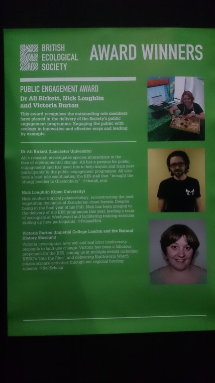 BES Public Engagement Award winners - argh that's my face!