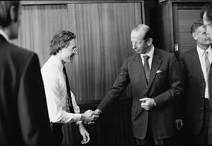 Welcoming the Duke of Kent to the TV Studio