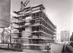 Linstead Hall in Scaffolding 1967