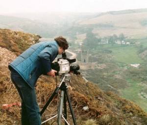 Camerawork at the old tin mine at Tywarnhale in Cornwall