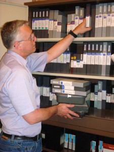 Colin with just some of the many videotapes in the collection