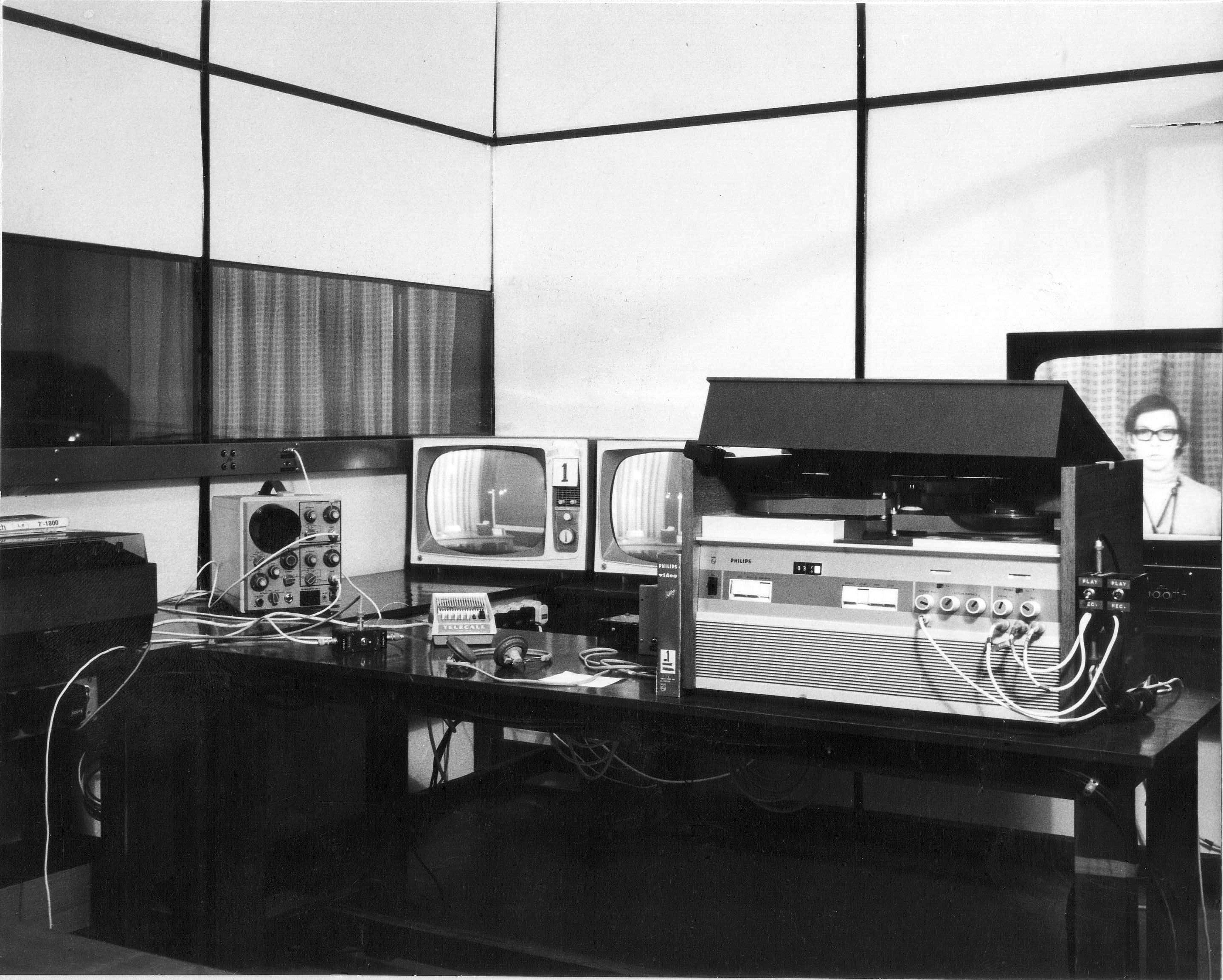 In the black and white photo you'll see our pride and joy, a Philips EL3400 one inch videotape machine which was FULL of valves and got extremely hot.