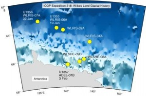 Map with locations where we plan to drill during the Wilkes Land IODP expedition.